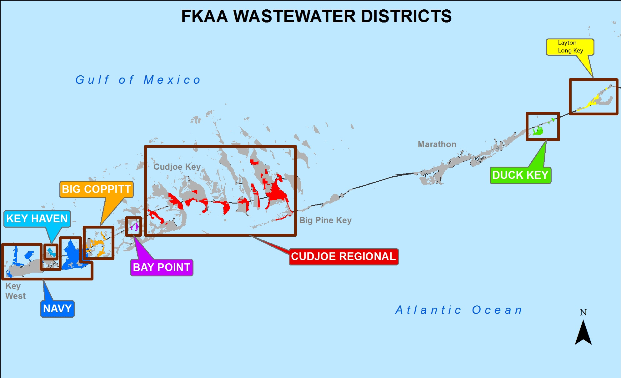 map of FKAA wastewater districts